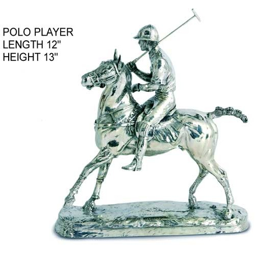 hallmarked silver polo player on horseback figurine