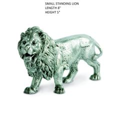 A Small size finely detailed Hallmarked Silver Figurine of a Lion that can be used as a table centre piece, a shelf ornament or an award set onto a wooden base. This silver model is the small size Lion in the range