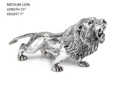 Hallmarked Sterling Silver Lion Figure Medium