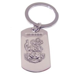 Hallmarked Silver St Christopher Key Ring