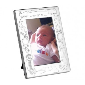 silver plated babies christening picture frame
