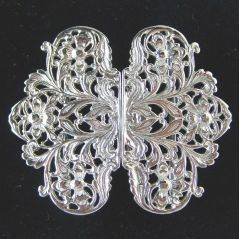 Hallmarked Sterling Silver Nurses Buckle Floral Pattern