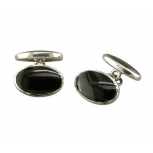 hallmarked silver and onyx chain link cufflinks