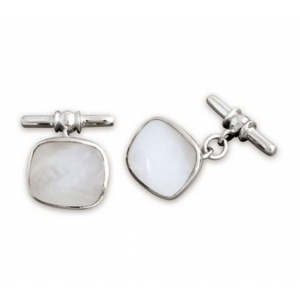 hallmarked silver mother of pearl cufflinks