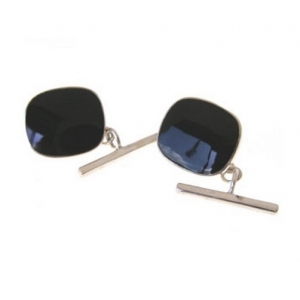hallmarked silver and onyx cushion shaped cufflinks