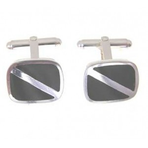onyx and hallmarked silver cufflinks on special offer