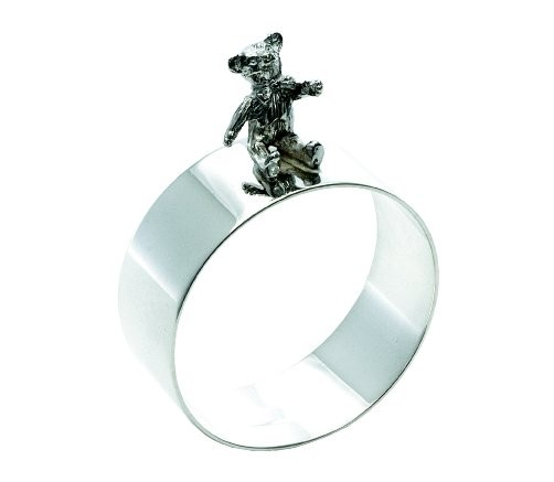 silver teddy bear napkin ring