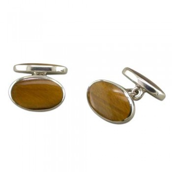 Tigers Eye Silver Cufflinks