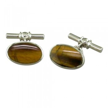Hallmarked Silver Tigers Eye Cufflinks